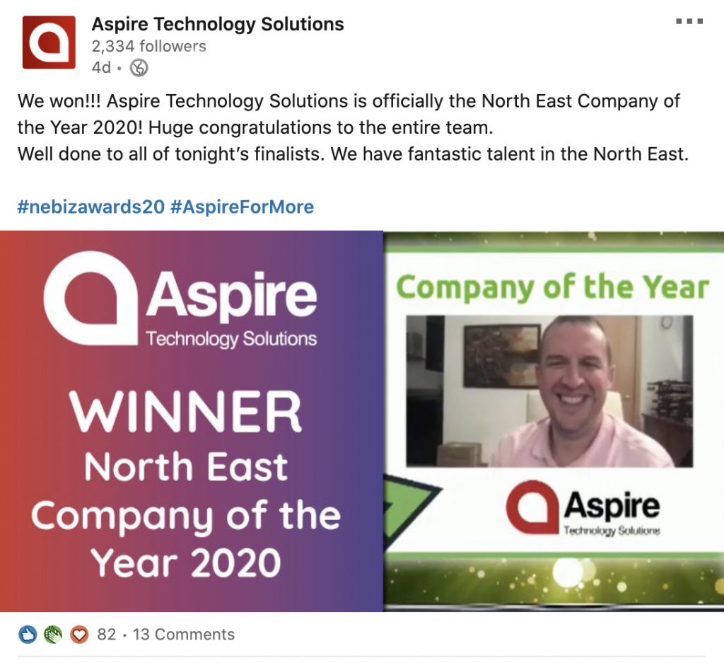Aspire wins North East Company of the Year